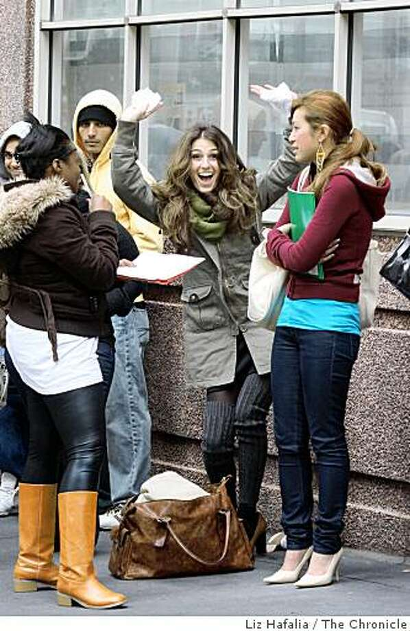 "Kenya (brown jacket), Dana (olive jacket), and Stephanie (burgundy hood) in line for the local tryouts of the popular TV show ""America's Next Top Model"" with Tyra Banks at Westin Hotel in San Francisco, Calif., on Tuesday, March 3, 2009. Photo: Liz Hafalia, The Chronicle"