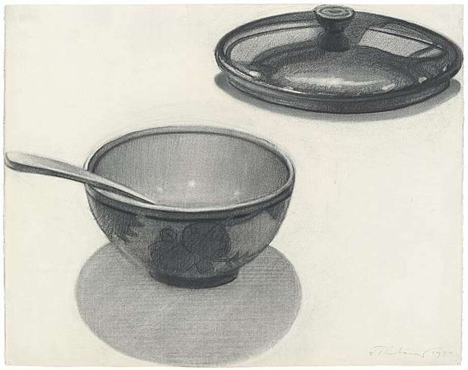 """Mixing Bowl Still Life"" (1970) charcoal on paper by Wayne Thiebaud Photo: Unknown, Paul Thiebaud Gallery, S.f."