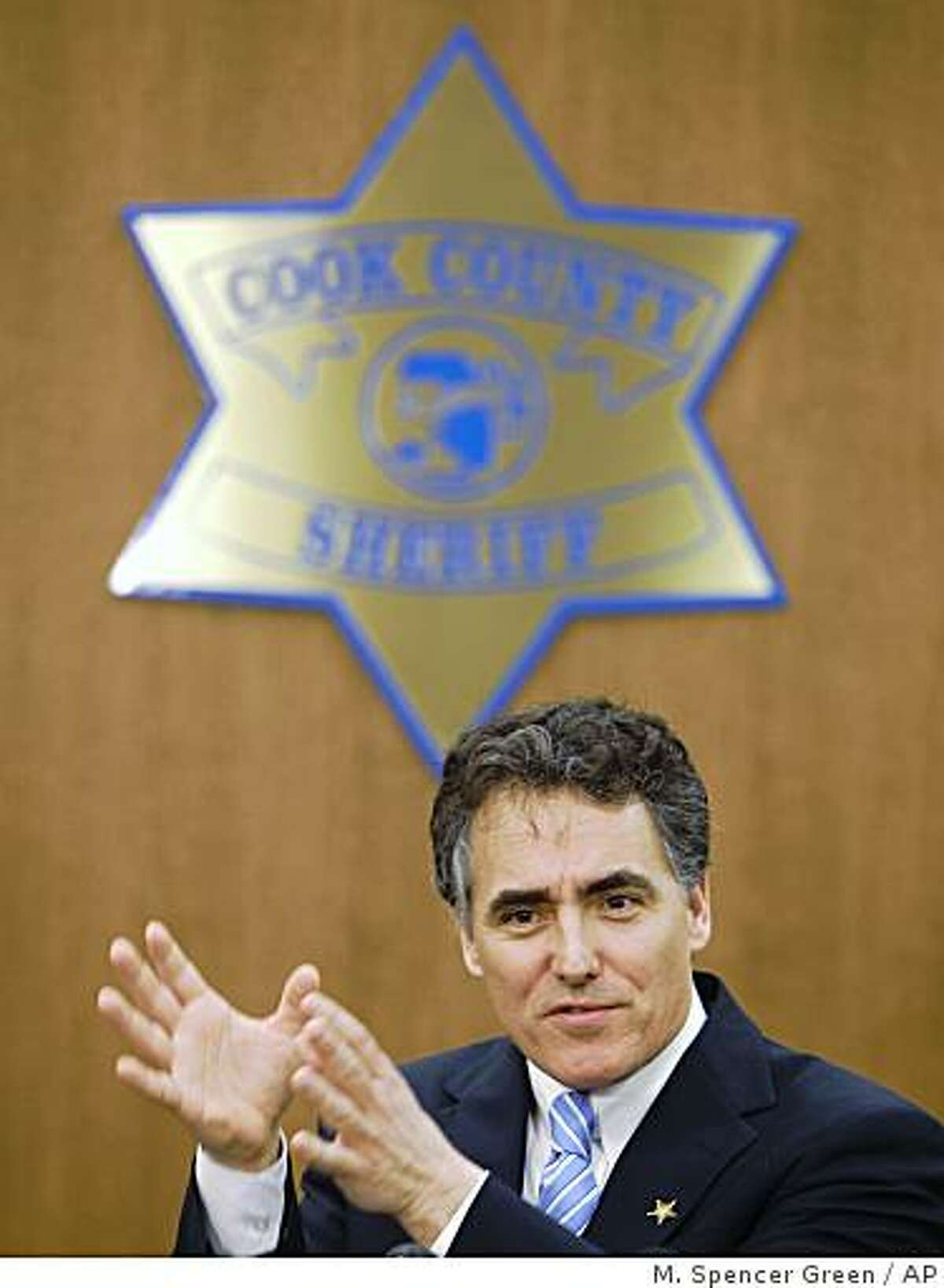 Cook County Sheriff Tom Dart announces at a news conference that he has filed suit in U.S. District Court against the owner of the website, Craigslist, accusing them of knowingly promoting and facilitating prostitution. Thursday, March 5, 2009, in Chicago. (AP Photo/M. Spencer Green)