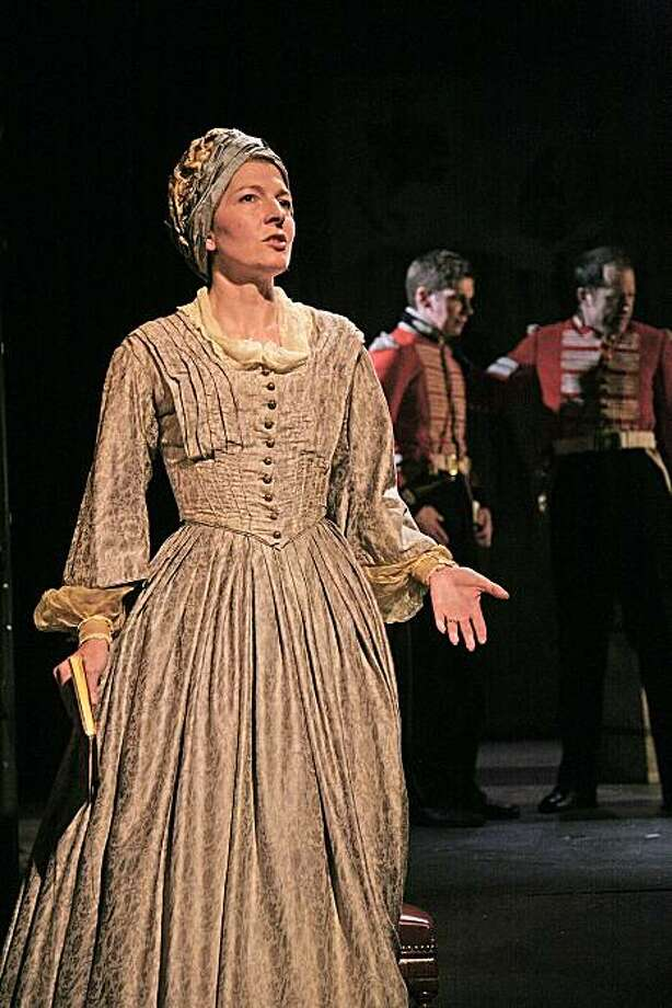 """Jemma Redgrave in Stephen Jeffreys' """"Bugles at the Gates of Jalalabad,"""" from part one of the Tricycle Theatre's """"The Great Game: Afghanistan"""" at Berkeley Repertory Theatre Photo: John Haynes"""