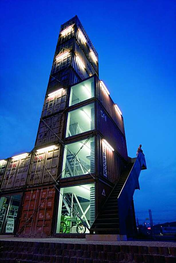 Freitag Tower, a hip accessories retail store, is located in a stacked deck of old metal cargo containers in Zurich. Photo: Zurich Tourism
