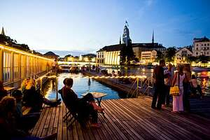 One of Zurich's public bathhouses is on the River Limmat which flows through the heart of the city.