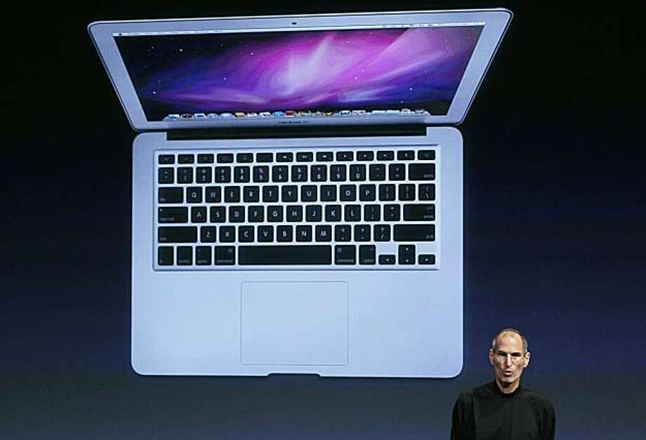 CUPERTINO, CA - OCTOBER 20:  Apple CEO Steve Jobs announces the new MacBook Air as he speaks during an Apple special event at the company's headquarters on October 20, 2010 in Cupertino, California. Jobs announced the new OSX Lion operating system for Maccomputers Mac computers, iLife 11 and MacBook Air in 13 inch and 11.6 inch models. Photo: Justin Sullivan, Getty Images