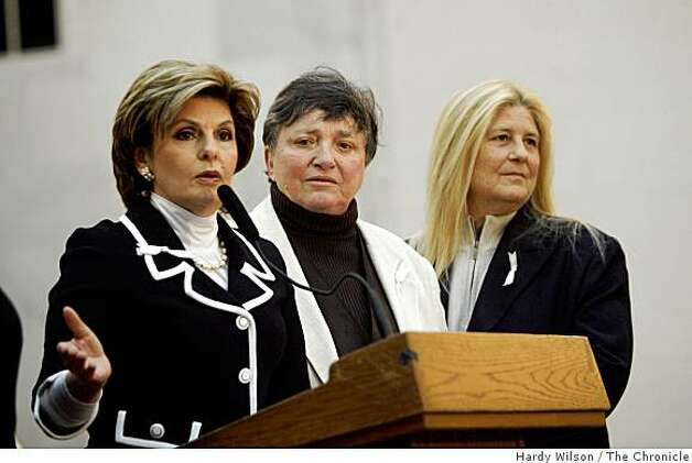 Attorney Gloria Allred, left, speaks with her clients, Robin Tyler, center, and Diane Olson, right, during a press conference inside City Hall in San Francisco, Calif., on Thursday, March 5, 2009. Photo: Hardy Wilson, The Chronicle