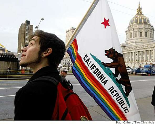 Nathan Piazza came from San Diego to support same-sex marriages before the California State Supreme Court heard arguments over the constitutionality of Proposition 8 in San Francisco, Calif., on Thursday, March 5, 2009. California voters approved the initiative in last November's statewide election. Photo: Paul Chinn, The Chronicle
