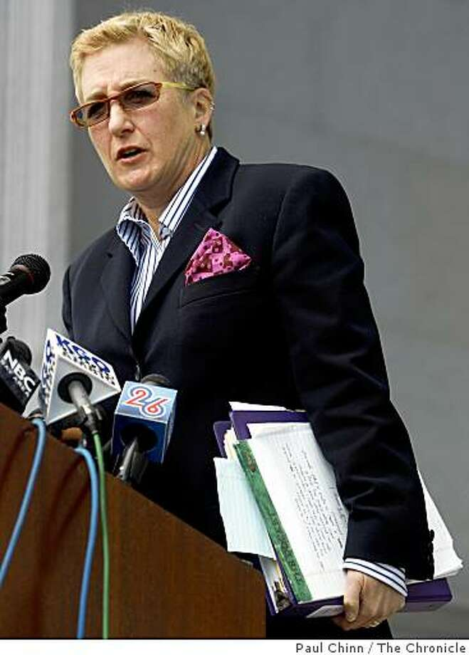 Deputy City Attorney Therese Stewart addresses a crowd gathered in front of the Earl Warren State Building after the California State Supreme Court heard arguments over the constitutionality of Proposition 8 in San Francisco, Calif., on Thursday, March 5, 2009. Photo: Paul Chinn, The Chronicle