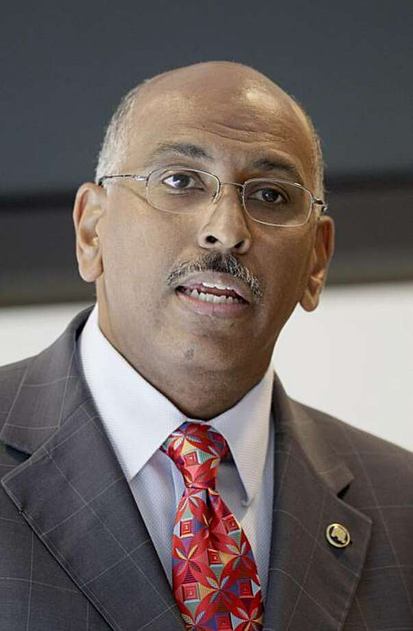 FILE - In this June 24, 2010 file photo, Republican National Committee Chairman Michael Steele speaks to the San Francisco Chamber of Commerce in San Francisco. Steele's Republican National Committee has raised more than $79 million this year _ and has spent all of it and then some _ yet remains overshadowed by outside groups that have thrived, in part, because party insiders deride their high-spending chairman. Photo: Jeff Chiu, Associated Press