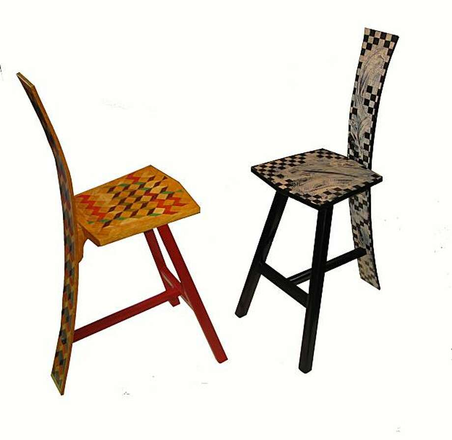 Woodworker Les Cizek and visual artist Larry Thomas teamed up to create chairs. Photo: Kerry Marshall
