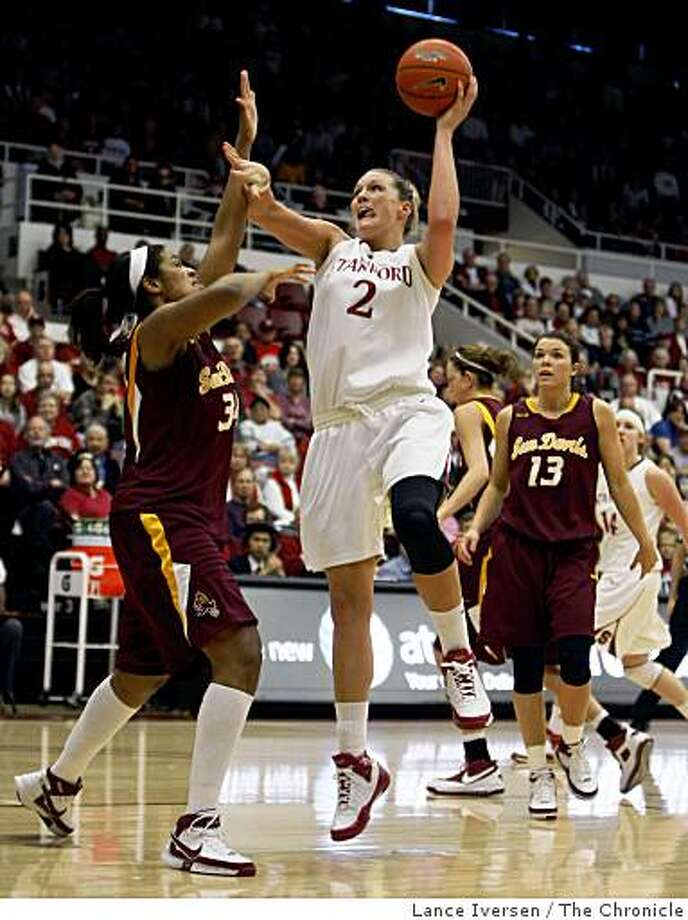 Stanford forward Jayne Appel (2) drives to the basket against Arizona State Lauren Lacey (34) left and Danielle Orsillo (13) in the second half of their NCAA college basketball game,  Saturday, March 7, 2009, in Palo Alto Calif. Appel scored 29 points in the game, Stanford won 77-68. Photo: Lance Iversen, The Chronicle