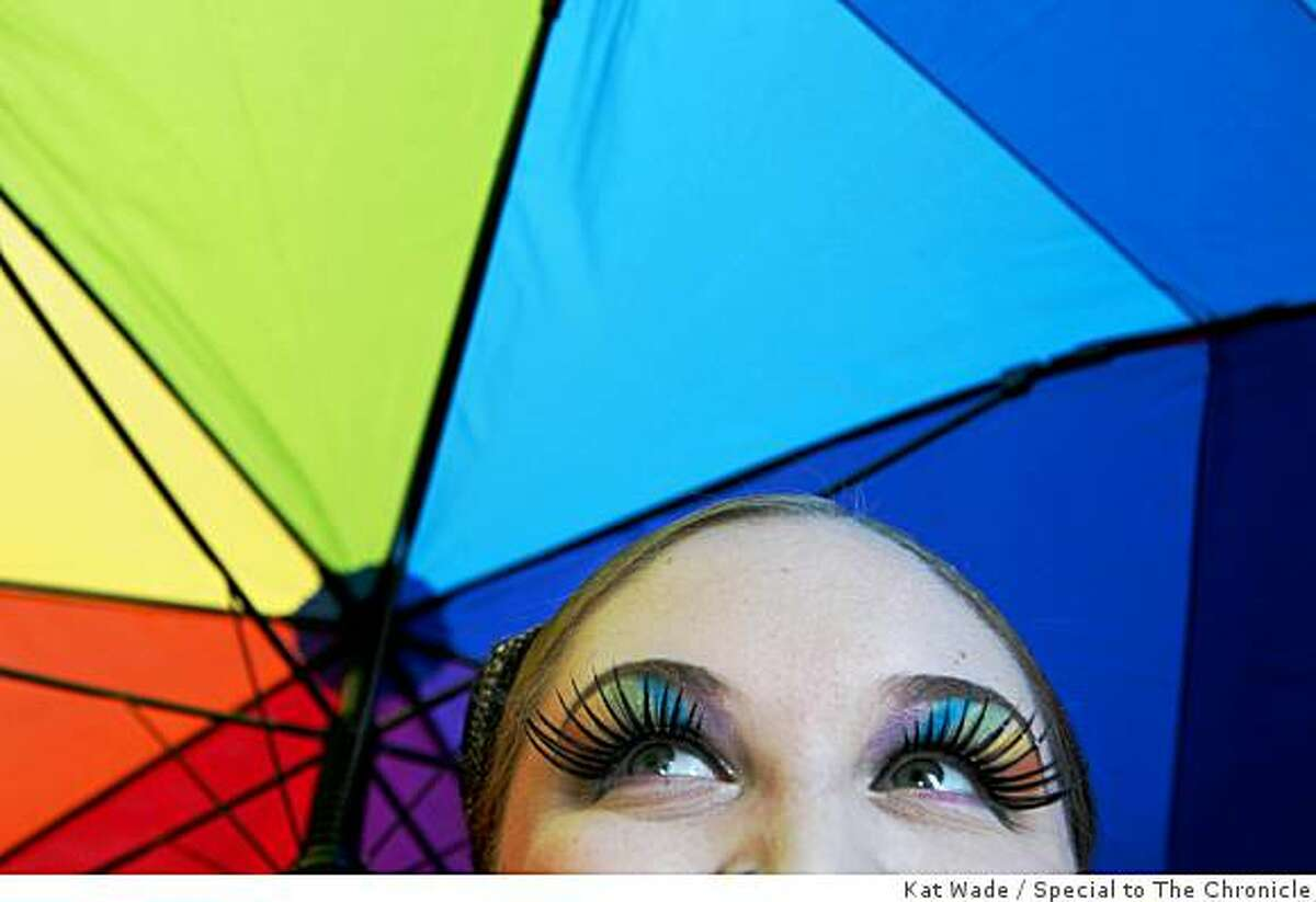 Shelly Baker of the San Francisco Citadel for Leather Pride wore dazzling rainbow makeup for the Gay Pride Parade on Market Street in San Francisco on Sunday.
