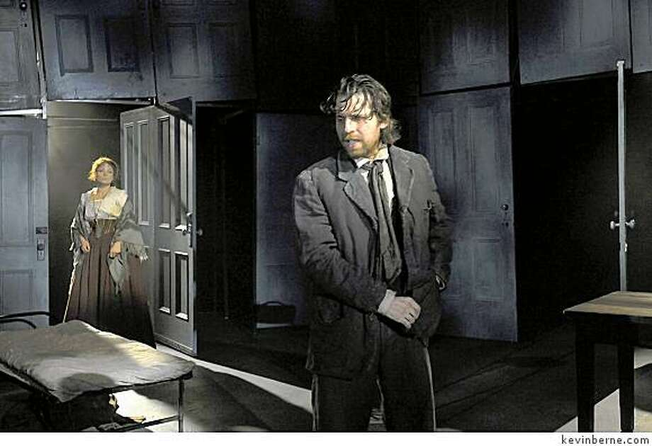 "Delia MacDougall (left) and Tyler Pierce in ""Crime and Punishment"" at Berkeley Repertory Theatre. Photo: Kevinberne.com"