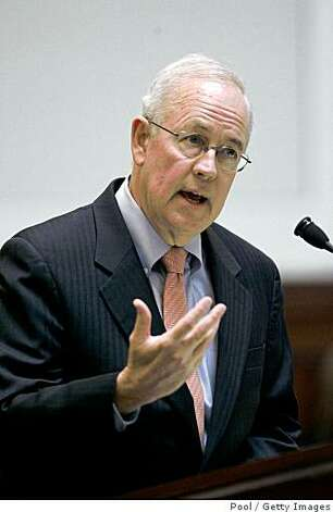 SAN FRANCISCO - MARCH 5:  Attorney Kenneth Starr speaks as arguments are heard for and against proposition 8 inside the California Supreme Courthouse on March 5, 2009 in San Francisco, California. The arguments are on lawsuits seeking to overturn Proposition 8, the state's voter-approved ban on same-sex marriage.  (Photo by Paul Sakuma-Pool/Getty Images) Photo: Pool, Getty Images