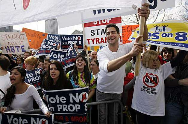 Oscar Riveiro, second from right, demonstrated against Prop. 8 outside of the California Supreme Court in San Francisco. Photo: Hardy Wilson, The Chronicle