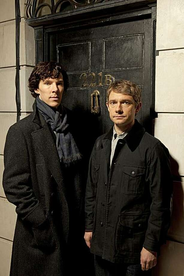 ÒSherlockÓ Ð A fast-paced, witty take on the legendary Sherlock Holmes crime novels, now set in present day London and starring Benedict Cumberbatch (The Last Enemy) as the Baker Street sleuth and Martin Freeman (The Office UK) as his loyal sidekick Doctor Watson. Shown: Benedict Cumberbatch as Sherlock Holmes and Martin Freeman as Dr. Watson Photo: Courtesy Of (C) Hartswood Films/