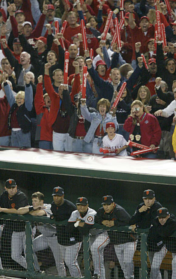 GIANTS58-C-24OCT02-SP-CS---Angel fans react as Rich Aurilia strikes out to end the game giving Anaheim the win to tie the series 3-3.  The San Francisco Giants play the Anaheim Angels in Games 6 of the World Series at Edison Field in Anaheim, Ca., on Saturday, October 26, 2002.  (Photo by Chris Stewart/San Francisco Chronicle) Photo: Chris Stewart, SFC