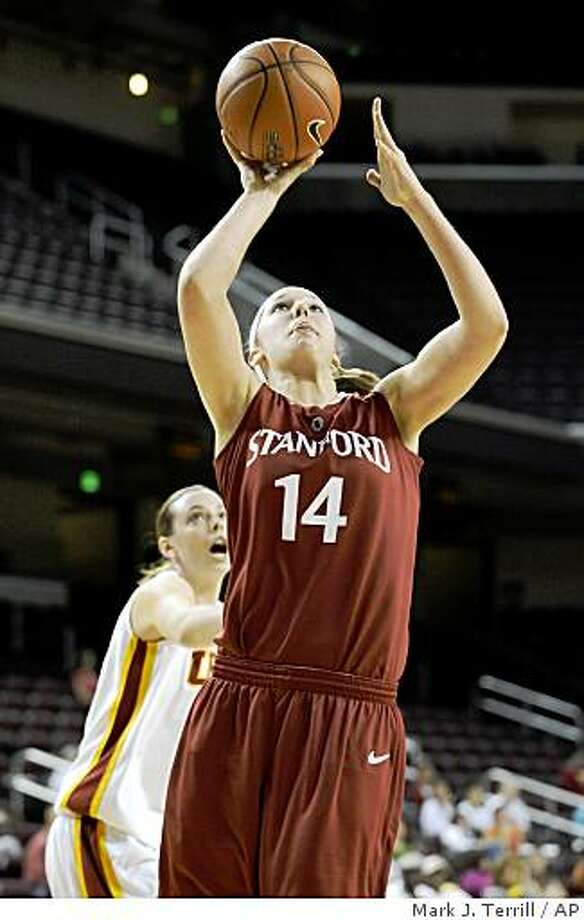 Stanford's Kayla Pedersen puts up a shot as Southern California's Kari LaPlante defends during the first half of their NCAA college basketball game, Sunday, March 1, 2009, in Los Angeles. Stanford won 85-74. (AP Photo/Mark J. Terrill) Photo: Mark J. Terrill, AP