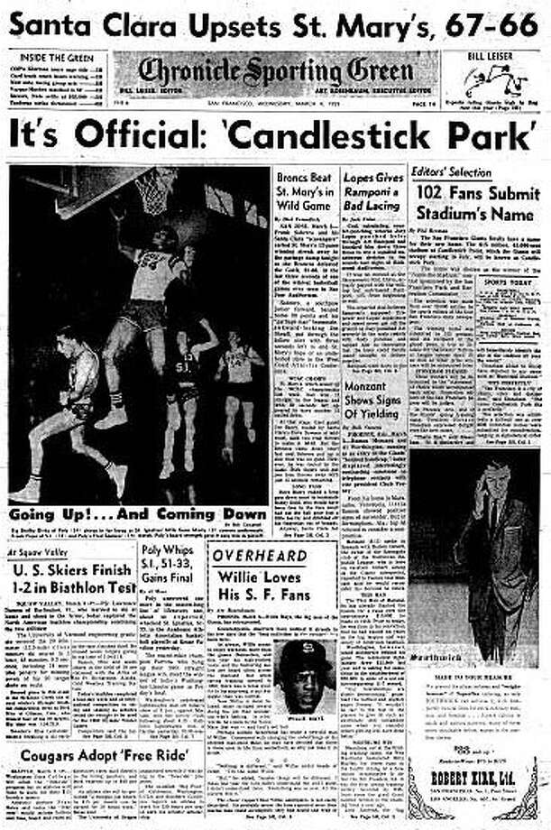 """March 4, 1959 ? Fifty years ago today on a busy news day for The Chronicle, readers learned the name of the city?s new $15 million baseball stadium for the Giants - Candlestick Park. The sports editors of San Francisco?s four daily newspapers at the time chose the name from more than 20,000 entries. The winning entry took the name of the stadium?s site, Candlestick Point, which in turn was named because the rocks on the hill above the stadium resembled candlesticks. The editors rejected proposals such as Argonaut Stadium and Zephyr Park, which would have been appropriate given the breezes that would long bedevil """"The ?Stick."""" The name changed four times between 1995 and 2008 - 3Com Park, 3Com Park at Candlestick Point, Monster Park and finally back to Candlestick Park. In front page news, popular comedian Lou Costello died of a heart attack at the age of 52. His comedy sketch """"Who?s on First??? with longtime partner Bud Abbott is in the baseball Hall of Fame. Meanwhile, the Bay Area was being rattled by aftershocks of 5.5 magnitude earthquake two days earlier. And Chronicle reporter David Perlman wrote about a ?portable computing machine?? to scope out combat intelligence on the front lines of battle. The ?knapsack?? sized computers were projected to weigh about 85 pounds. Also, the Navy was working on a portable computer to guide missile-bearing submarines.And in Georgia, a 54-seat school bus carrying 80 African American children crashed into a pond. Nine children drowned. Photo: Chronicle Archives"""