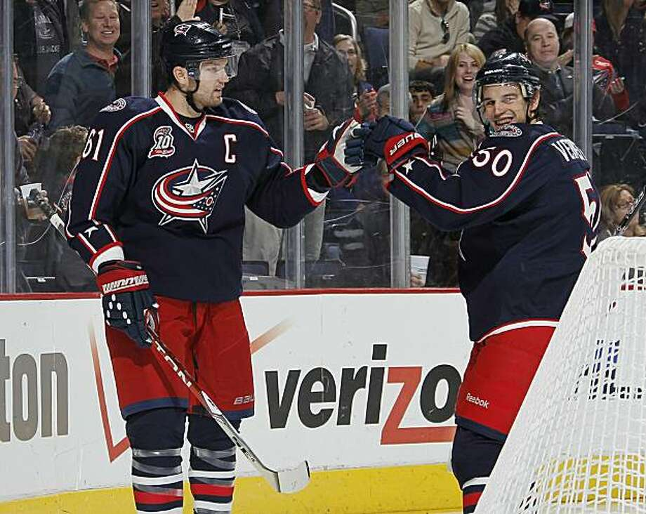 COLUMBUS, OH - OCTOBER 20: Rick Nash #61 of the Columbus Blue Jackets is congratulated by Antoine Vermette #50 after a second period goal against the Anaheim Ducks on October 20, 2010 at Nationwide Arena in Columbus, Ohio. Photo: Gregory Shamus, Getty Images