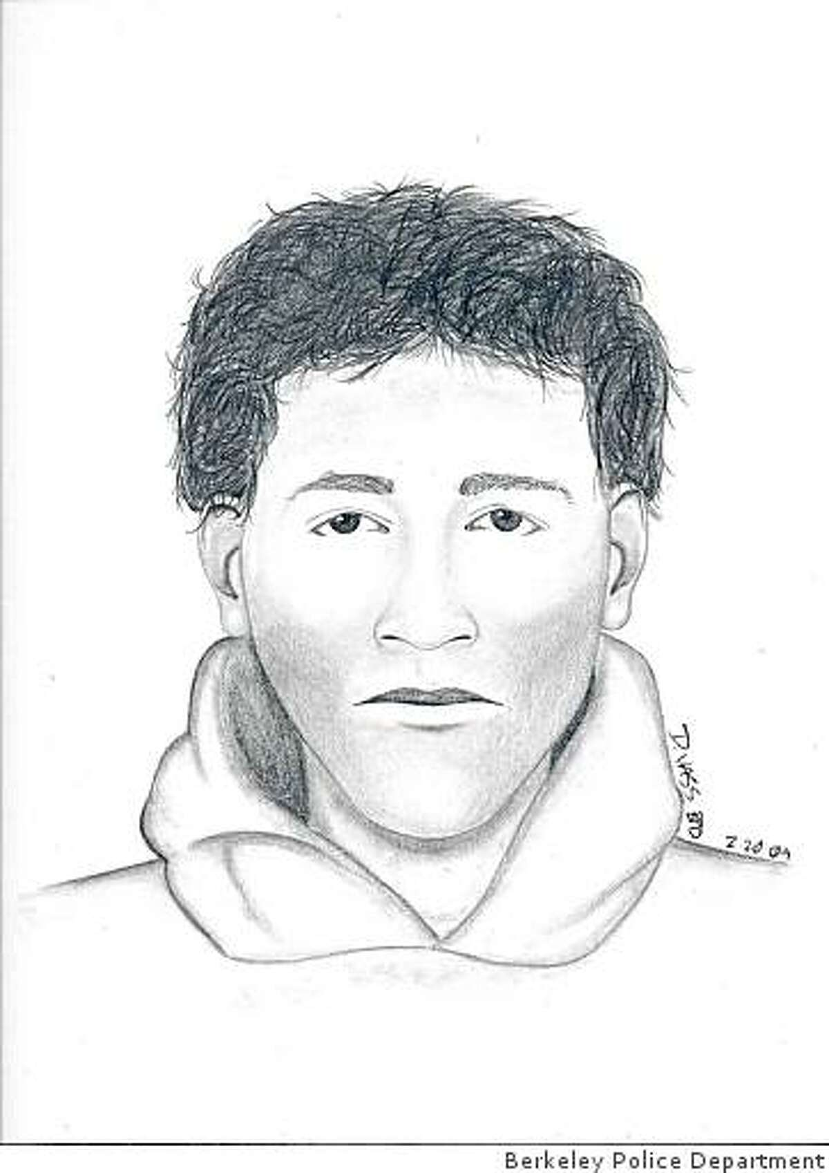 Berkeley police released this sketch Monday, Feb. 23, 2009 of a man who has been accosting women from behind and touching them after lifting their skirts.