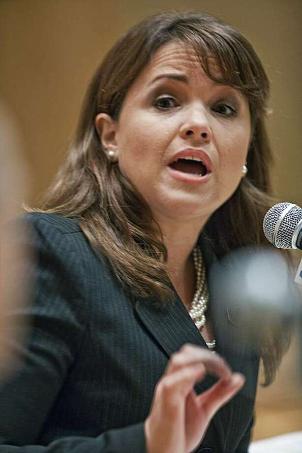 Delaware U.S. Senate candidate Christine O'Donnell speaks during a debate between O'Donnell and her opponent Chris Coons at Widener Law School in Wilmington, Del., Tuesday, October 19, 2010. Photo: The News Journal, AP