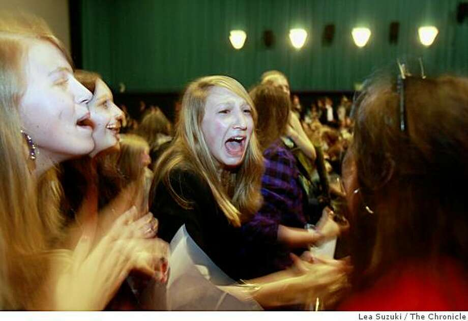 Gilli Cooper, 16, of San Francisco, reacts to the appearance of the Jonas Brothers who greeted fans at Century Westfield Theater before the showing of their movie Jonas Brothers The 3D Concert Experience in San Francisco, Calif. on Sunday, March 1, 2009. Photo: Lea Suzuki, The Chronicle