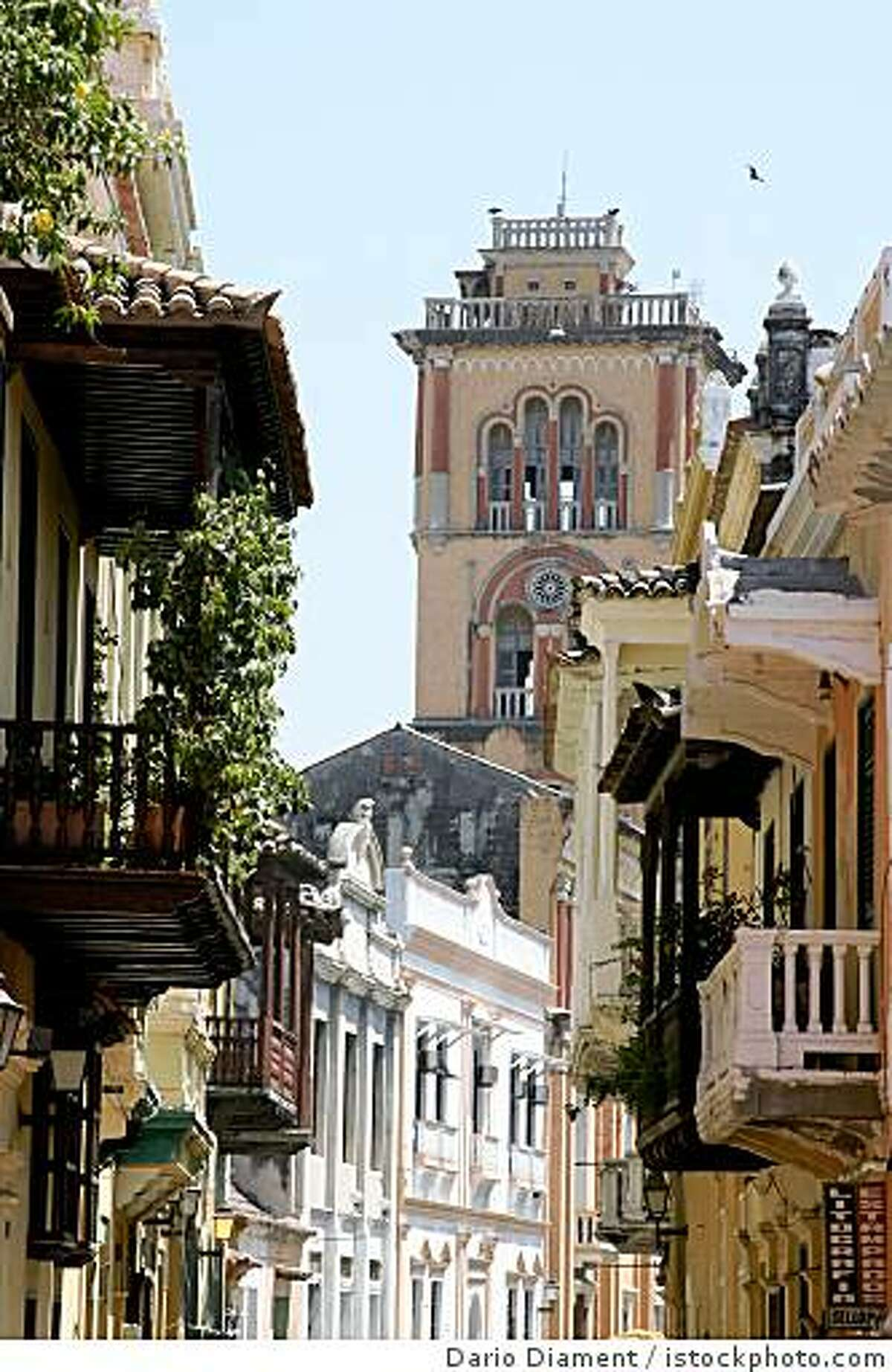 Colonial architecture in Cartagena, Colombia.