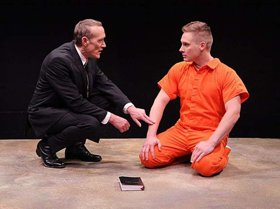 "James Carpenter (left) plays a minister visiting Daniel Reeves (Craig Marker), a young solider on trial for his life, in Marin Theatre Company's world premiere of Bill Cain's ""9 Circles"" Photo: Ed Smith"