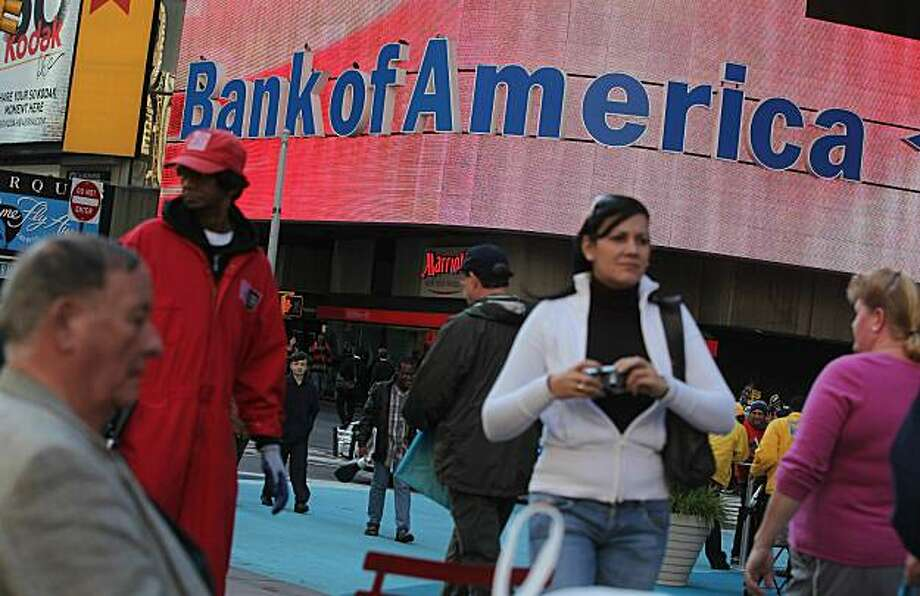 NEW YORK - OCTOBER 19: A Bank of America branch is seen in Times Square October 19, 2010 in New York City.  Bank of America Corp. announced it lost $7.65 billion in the third quarter because of a charge related to bank reform legislation. Photo: Mario Tama, Getty Images