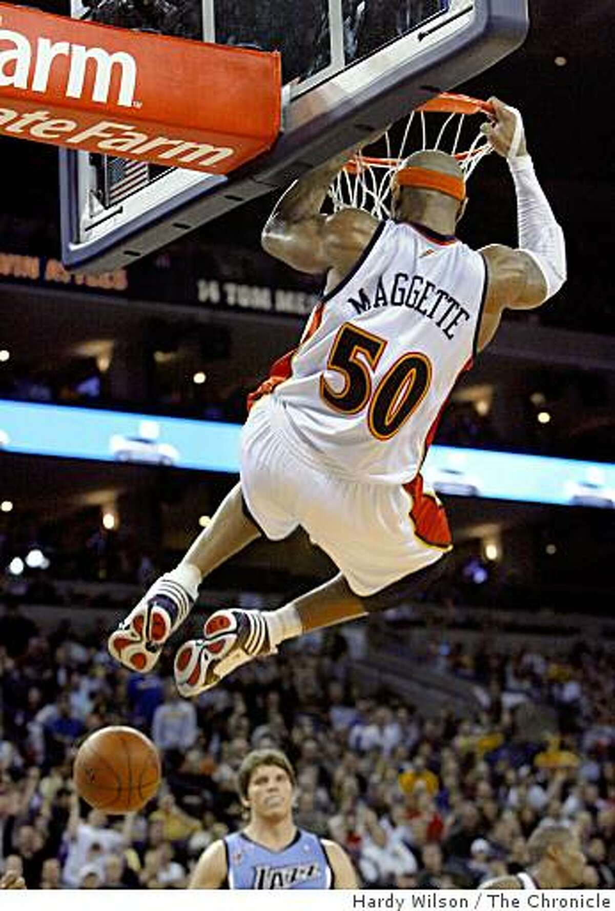 Golden State Warriors forward Corey Maggette (50) dunks the ball against the Utah Jazz during a game at Oracle Arena in Oakland, Calif., on Sunday, March 1, 2009. The Jazz beat the Warriors 112-104.
