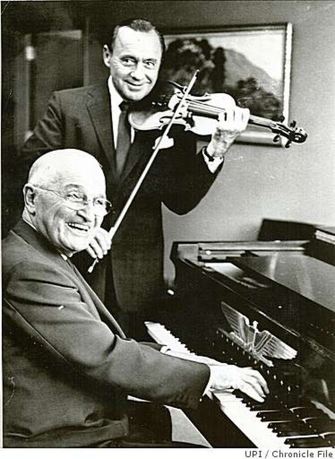 wayback01.jpg 1959 - Comedian Jack Benny (with violin) and former President Harry Truman in 1959. Benny performed with the San Francisco Symphony that same year.UPI/credit} Photo: UPI, Chronicle File