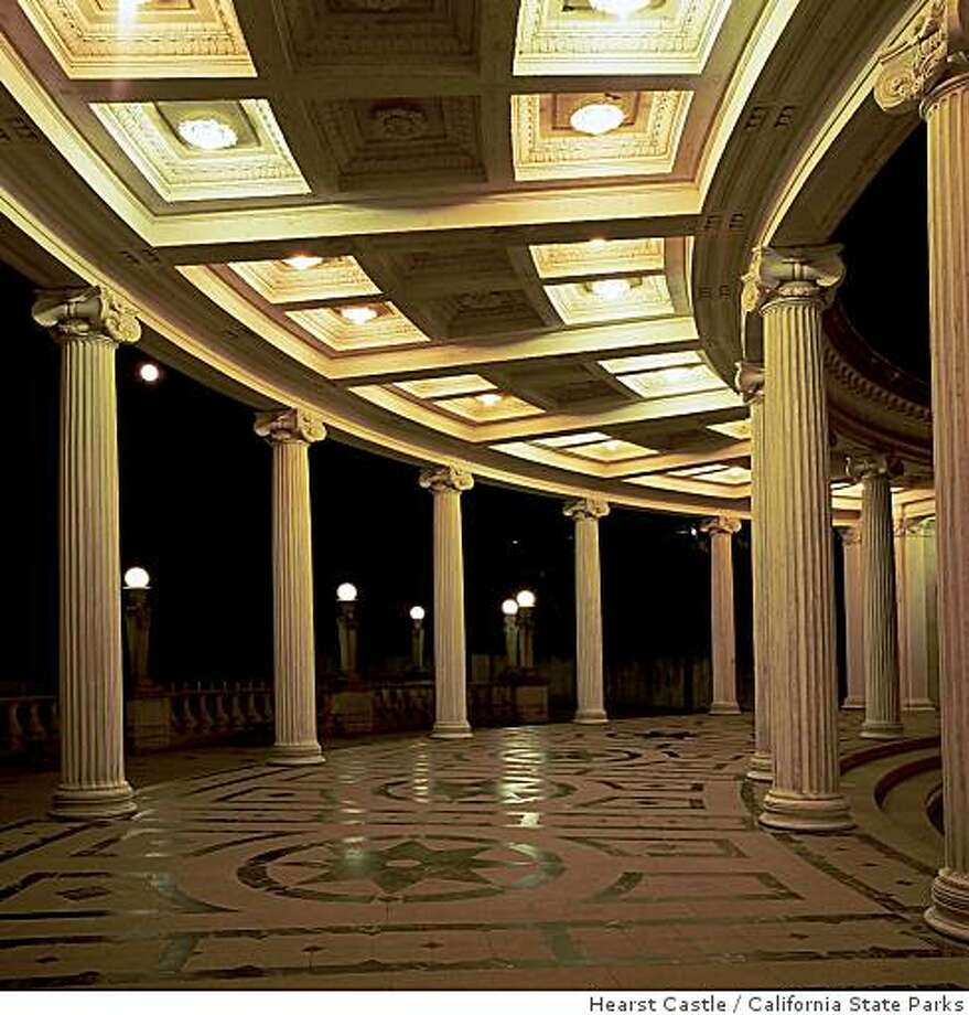 San Simeon, CA -- Night tours at Hearst Castle include living history volunteers playing the parts of William Randolph Hearst's guests during the castle's 1930s heyday.Courtesy Hearst Castle�/California State Parks Photo: Hearst Castle, California State Parks