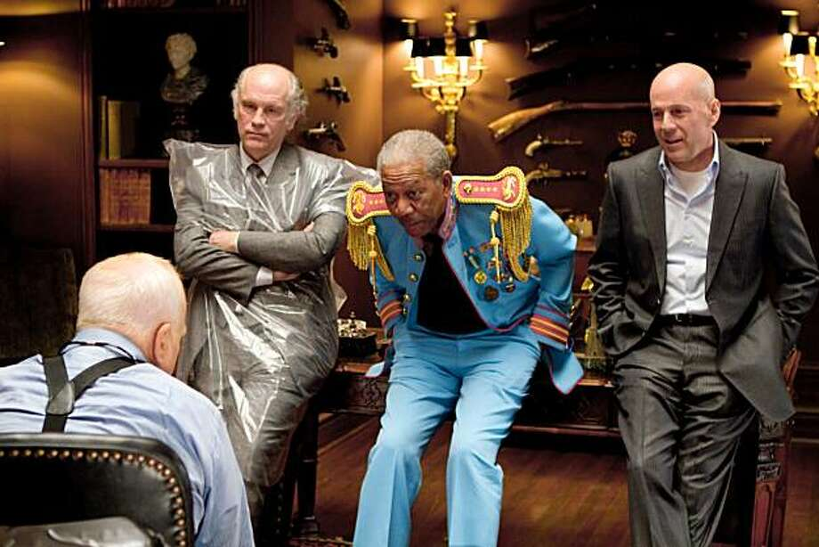 "In this publicity image released by Summit Entertainment, actors from left, Richard Breyfuss, John Malkovich, Morgan freeman and Bruce Willis are shown in a scene from, ""Red."" Photo: Frank Masi, AP"