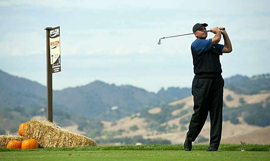 SAN MARTIN, CA - OCTOBER 16:  Rocco Mediate makes a tee shot on the seventh hole during the third round of the Frys.com Open at the CordeValle Golf Club on October 16, 2010 in San Martin, California. Photo: Robert Laberge, Getty Images