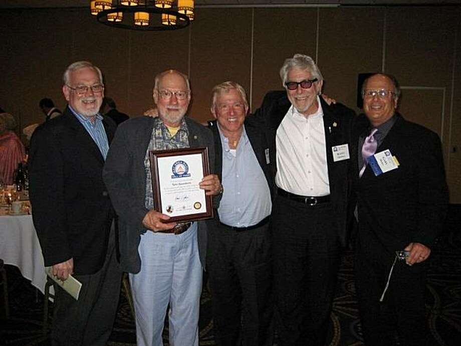 Tom Saunders (second from left) is flanked by friends from KOIT (left to right, Bill Conway, Larry Ickes and Scott Thomas) and KYA (Gary Mora).  Photo by Sandy Thomas Photo: Sandy Thomas