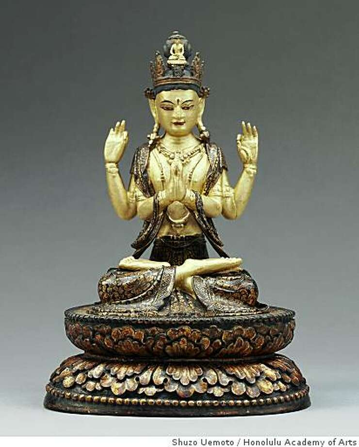 """""""Seated four-armed Avalokiteshvara, the Bodhisattva of Compassion"""" (1700-1900) Bhutan, Wood, gilded and lacquered with cold gold and pigments Photo: Shuzo Uemoto, Honolulu Academy Of Arts"""