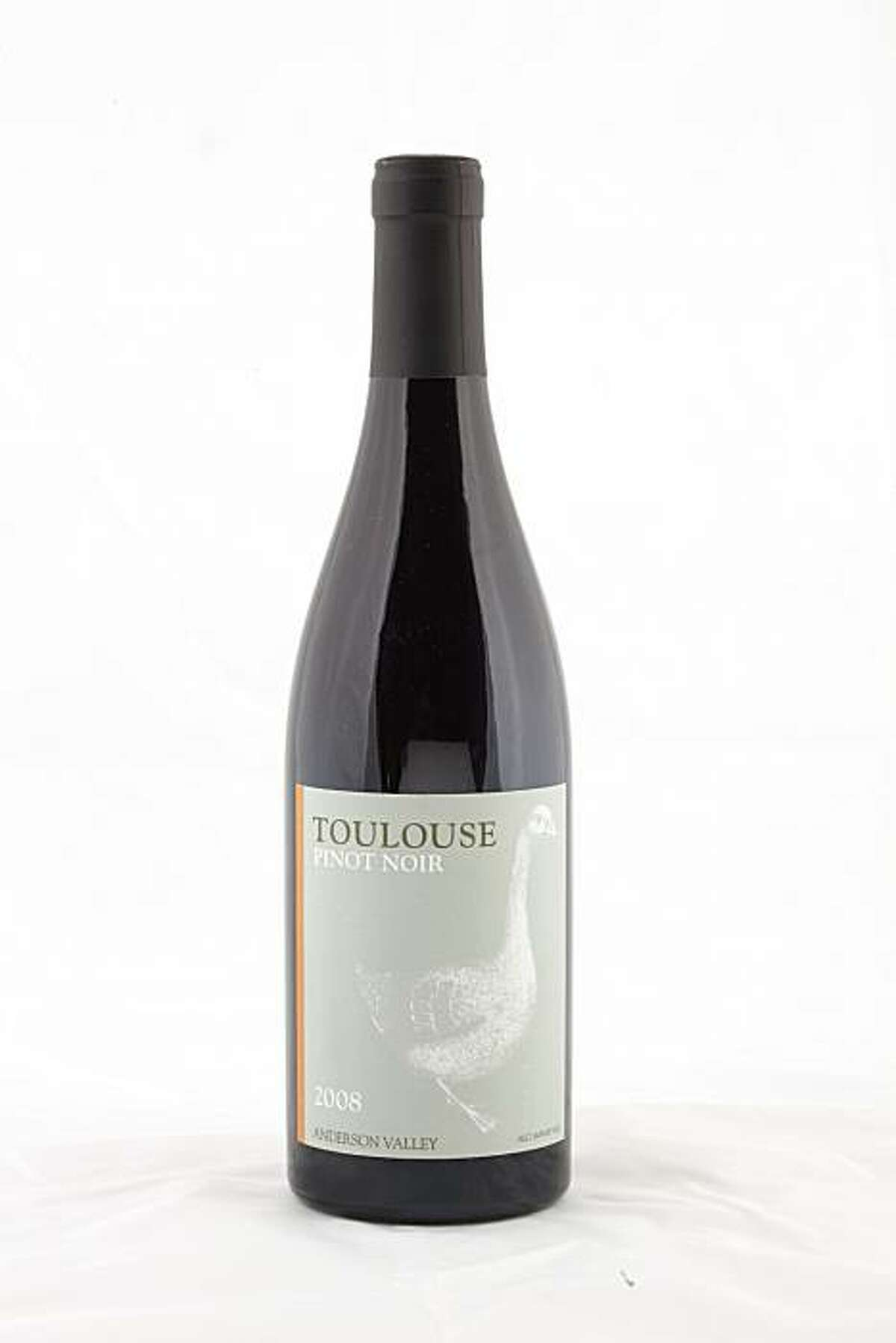 2008 Toulouse Vineyards Anderson Valley Pinot Noir is seen in San Francisco, Calif., on October 13, 2010.