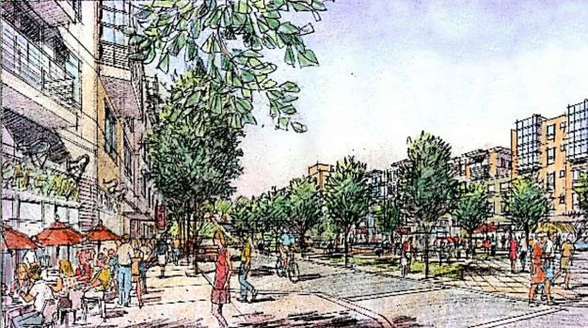 Artists rendering of reconfigured Phelan Loop which will provide market rate housing, public open space, neighborhood-serving retail (including a food market), a gateway to CCSF, and improved transit connection.