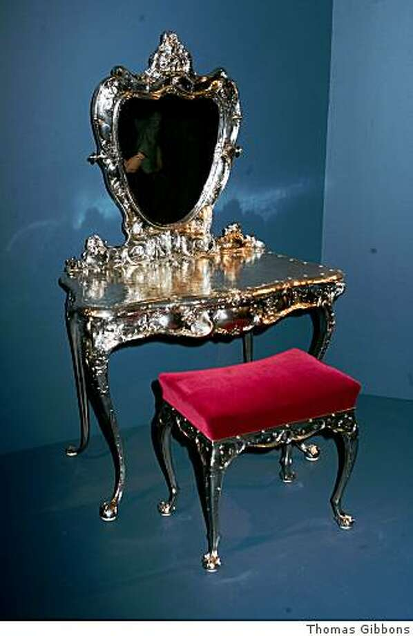 a solid silver dressing table at the Faberge exhibit openeing at the Legion of Honor Photo: Thomas Gibbons