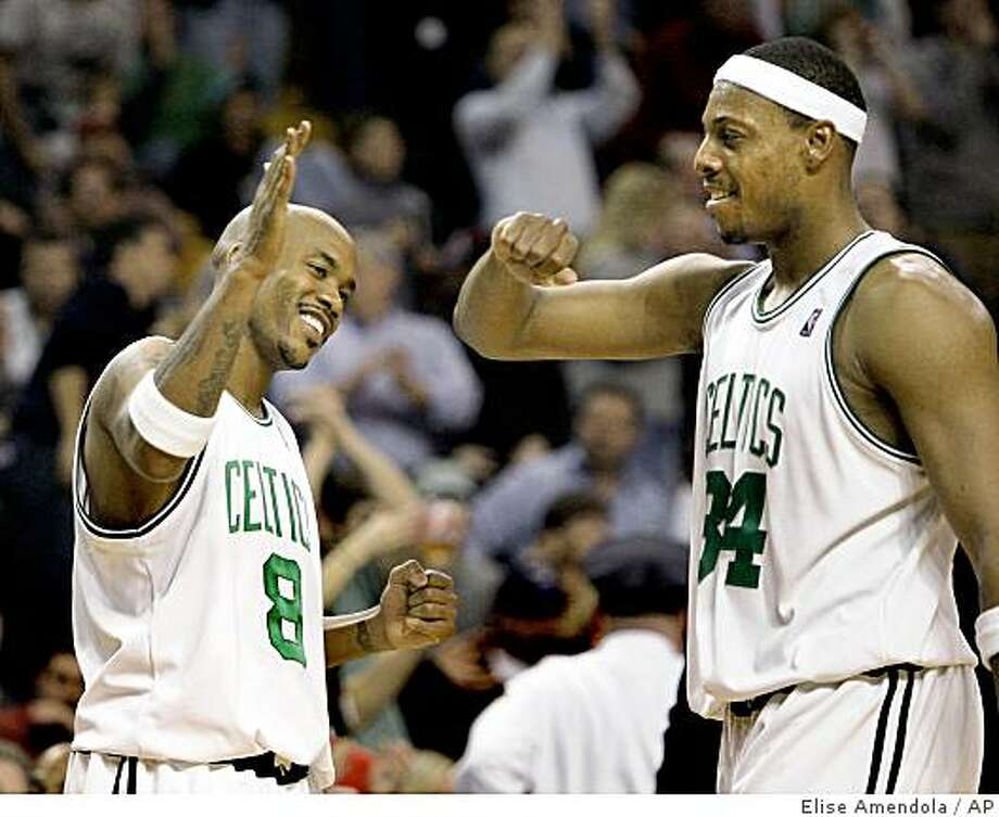 Newly acquired Boston Celtics' Stephon Marbury (8) celebrates with Paul Pierce (34) after their 104-99 victory over the Indiana Pacers in an NBA basketball game in Boston, Friday, Feb. 27, 2009. (AP Photo/Elise Amendola) Photo: Elise Amendola, AP