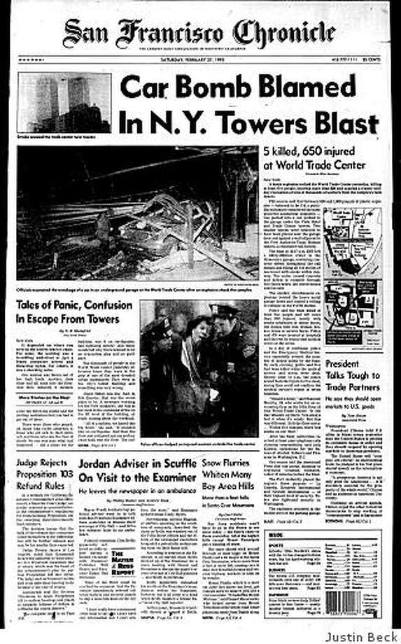 Feb. 27, 1993 ? Six people are dead and more than 1,000 injured after a bomb goes off beneath the World Trade Center in New York the day before. The explosion leaves a crater several floors deep and several more high. The FBI later learns that the attack, planned by group of conspirators including Ramzi Yousef, was something of a failure since it was intended to knock the North Tower into the South Tower, bringing down both. Ultimately, six men were convicted in the attack. On Sept. 11, 2001 the both towers of the World Trade Center were destroyed by two hijacked airplanes flown by terrorists. Photo: Justin Beck