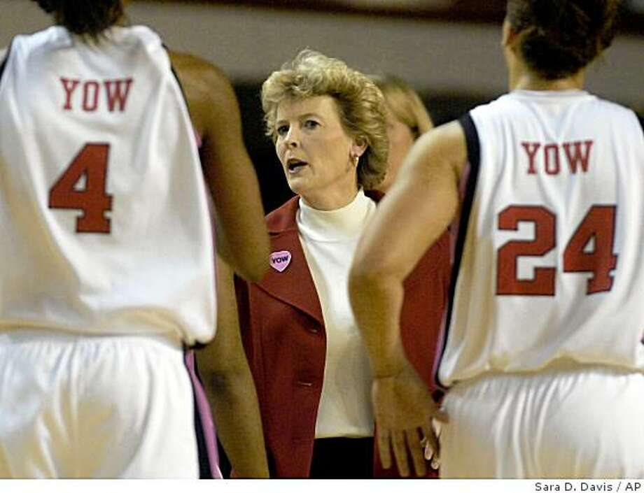 North Carolina State interim coach Stephanie Glance talks to her players during a timeout in the second half of an NCAA college basketball game against North Carolina in Raleigh, N.C., Monday, Feb. 23, 2009. North Carolina won 74-57. (AP Photo/Sara D. Davis) Photo: Sara D. Davis, AP