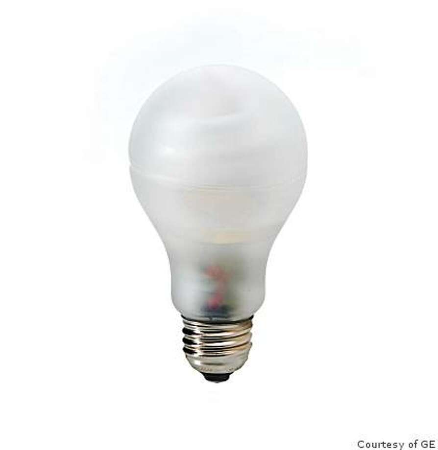 "Compact fluorescent light bulbs (I've got a picture of GE's CFL, but also, they have jpegs of a new ""incandescent shaped""   bulb which you can download here  .) Photo: Courtesy Of GE"