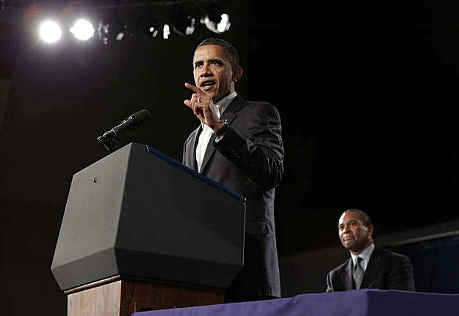 President Barack Obama headlines a rally for his longtime friend and political ally, Massachusetts Gov. Deval Patrick, right, who is seeking a second term, Saturday, Oct. 16, 2010, at the Hynes Convention Center in Boston. Photo: J. Scott Applewhite, AP