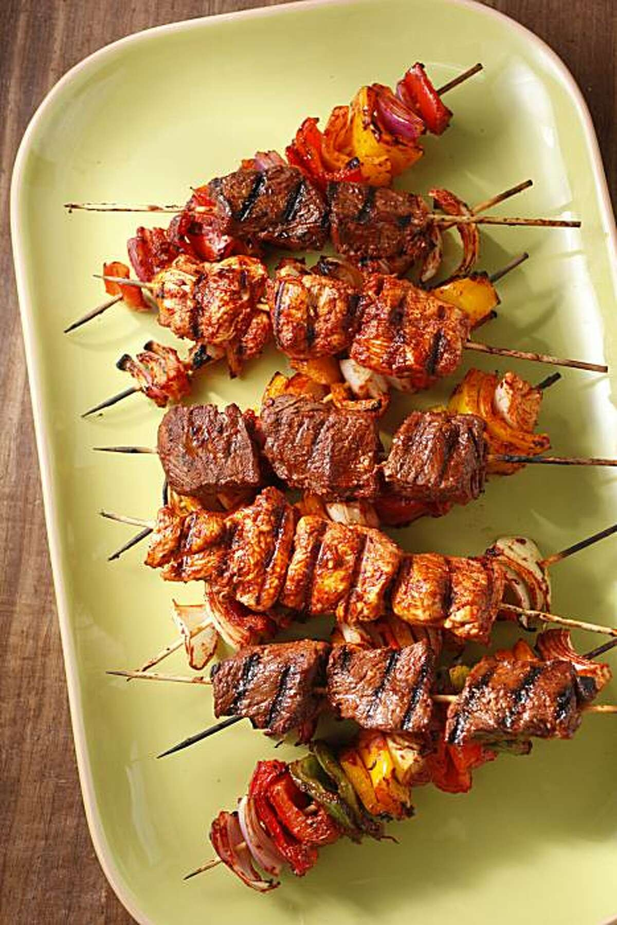 Grilled skewers with anticucho sauce is seen in San Francisco, Calif., on October 13, 2010. Food styled by Natalie Knight.