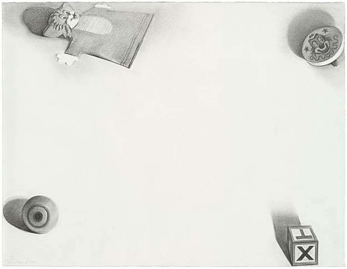 """""""Toys"""" (1971) charcoal on paper by Wayne Thiebaud"""