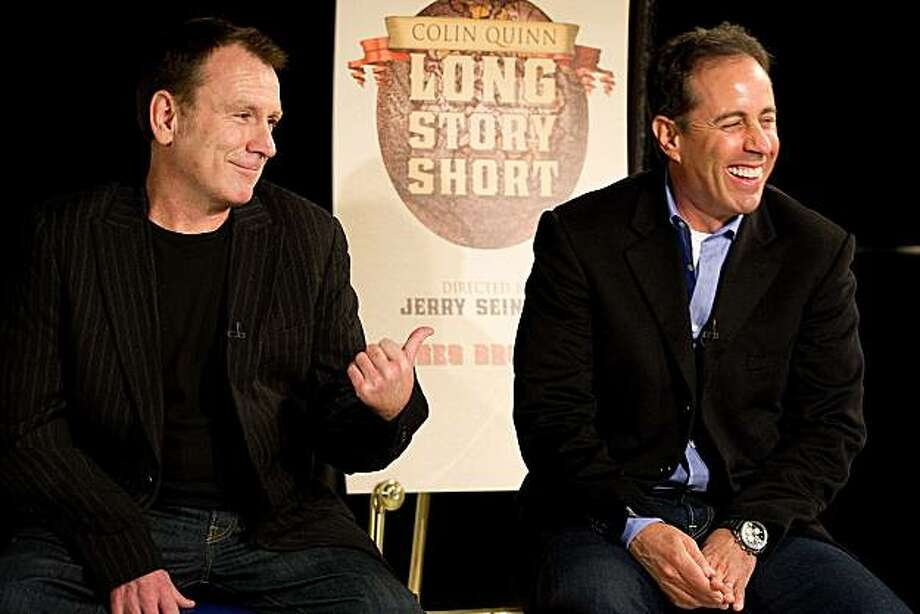 """Colin Quinn, left, and Jerry Seinfeld discuss """"Long Story Short"""", the one-man theatrical show moving to Broadway starring Colin Quinn and directed by Jerry Seinfeld, at a news conference in New York, Tuesday, Oct. 12, 2010. Photo: Charles Sykes, AP"""