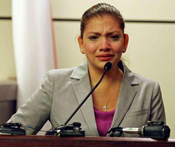 FOR METRO - Jenny Ann Ybarra cries while on the witness stand in the 437th District Court at the Cadena Reeves Justice Center Friday Feb. 10, 2012. Ybarra is on trial for the intoxication manslaughter of Erica Nicole Smith in December 2007. Photo: EDWARD A. ORNELAS, SAN ANTONIO EXPRESS-NEWS / © SAN ANTONIO EXPRESS-NEWS (NFS)