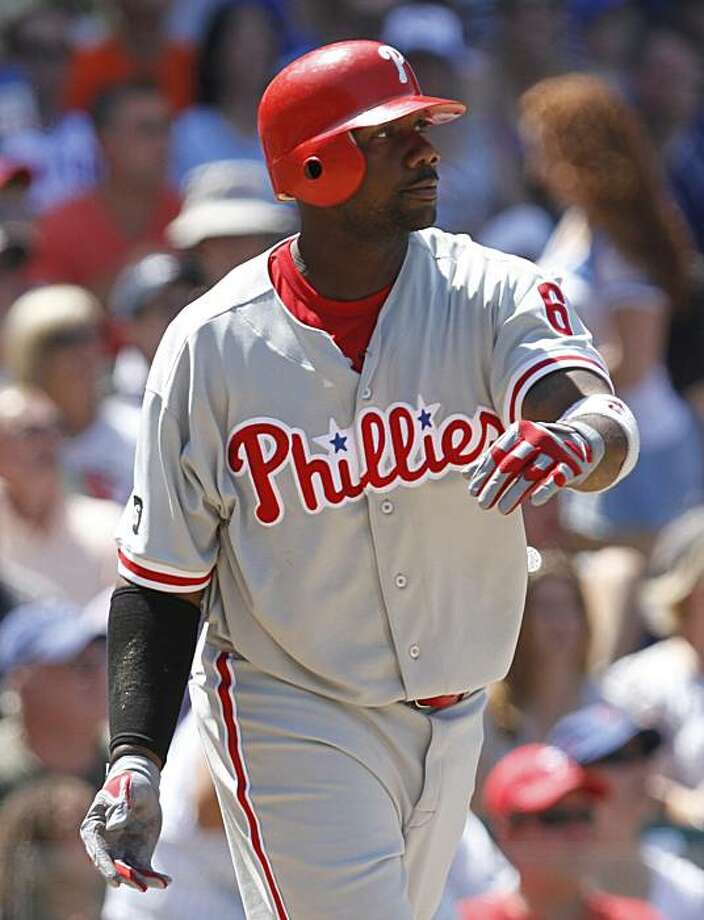 Philadelphia Phillies' Ryan Howard watches his two-run home run against the Chicago Cubs during the sixth inning of a baseball game Friday, July 16, 2010, in Chicago. Photo: Nam Y. Huh, AP