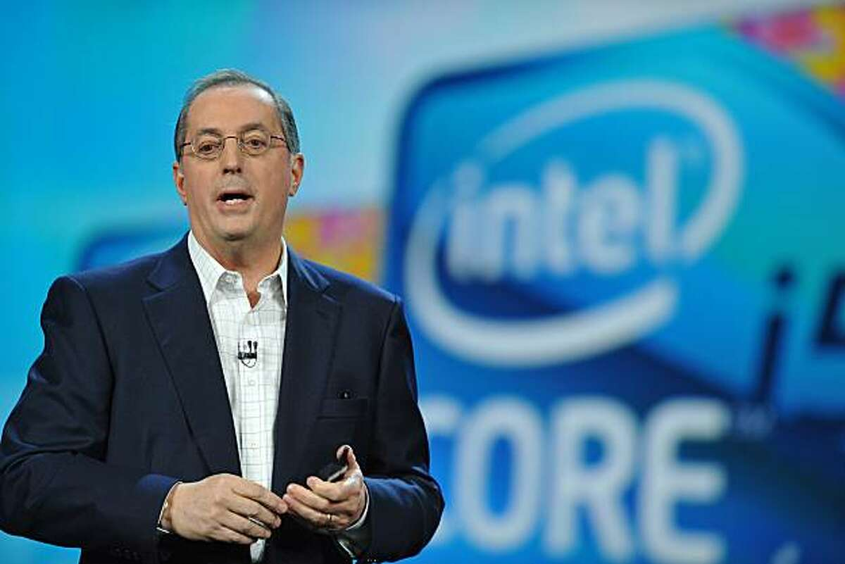 Intel Corp. Chief Executive Officer Paul Otellini delivers his keynote address at the 2010 International Consumer Electronics Show, January 7, 2010 in Las Vegas, Nevada. CES, the world's largest annual consumer technology tradeshow, runs from January 7-10.