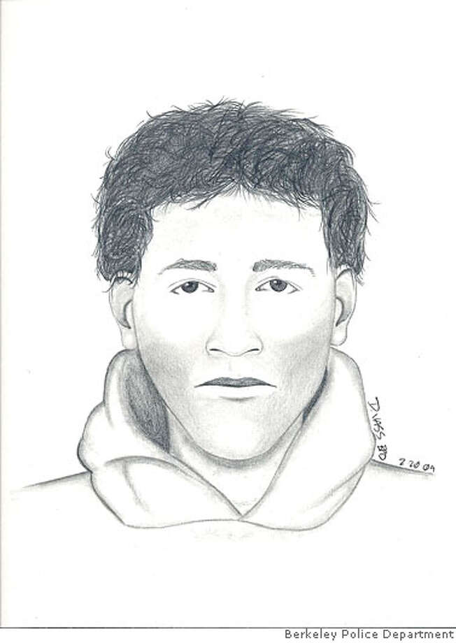 The suspect is described as: White Male, 20s, 5-10 tall, 160-170 lbs, medium build, Short dark wavy hair Photo: Berkeley Police Department